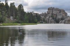 Fishing in Sylvan Lake, South Dakota, USA Stock Photo