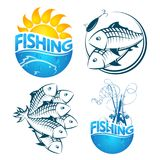 Fishing symbols set. Fish and fishing rod symbols set illustration Stock Photography