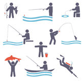 Fishing symbols Stock Photo