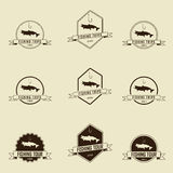 Fishing symbols set, vector Royalty Free Stock Images