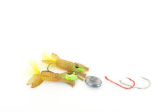 Fishing tackle. Fishing lures with sinker and hooks isolated on white Stock Photography