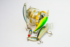 Fishing tackle. Spinning tackle, fishing tackle, fishing lure Stock Image