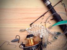 Fishing tackle background Stock Photography
