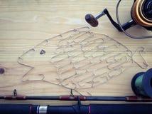 Fishing tackle background. Fishing tools preparing,gamefish equipment ,fishing hook Stock Photo