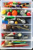 Fishing tackle box for recreation royalty free stock images