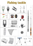 Fishing tackle flat icon collection. Fishing tackle flat icon set Fishing rod, bait, lure, net and other gear, supplies and equipment abstract vector Stock Photos
