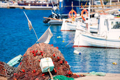Fishing tackle in Formentera Mediterranean islands Stock Photos