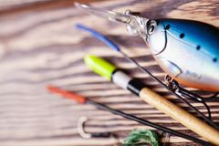 Fishing tackle. Fishing gear closeup with blur effect Royalty Free Stock Photo