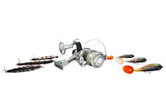 Fishing tackle  isolated on white Stock Photography