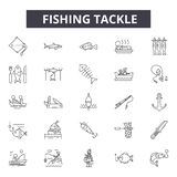 Fishing tackle line icons, signs, vector set, outline illustration concept. Fishing tackle line icons, signs, vector set, outline concept illustration vector illustration