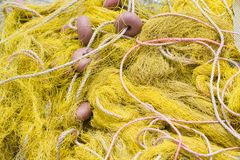 Fishing tackle: net, float, rope close-up Royalty Free Stock Photography