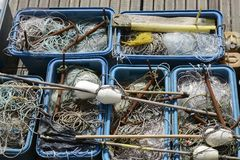 Fishing tackle, nets, lines, floats Royalty Free Stock Photography