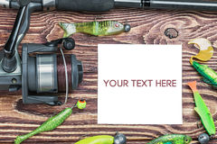 Fishing tackle and photoframe Stock Photography