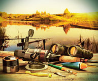 Fishing tackle on a pontoon Royalty Free Stock Photo