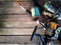 Fishing tackle. Preparing fishing rod background ,water sports Royalty Free Stock Photography