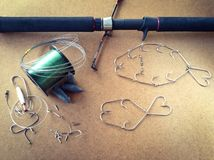 Fishing tackle set. Art of gamefish prepared background Stock Photography