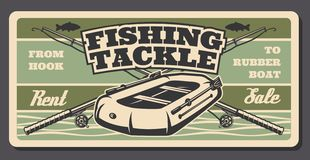 Fishing tackle shop, fisherman rods and boat. Fishing tackle or gear and fisherman equipment retro poster, sport shop. Inflatable boat with fishing rod, lure and royalty free illustration