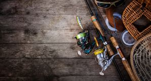 Fishing tackle and spinning rod. stock images