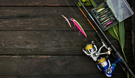 Fishing tackle and spinning rod. stock photography
