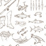 Fishing tackle tools Seamless Pattern. Sketches. Hand-drawing fishing equipment. Vector illustration of for design and packages product. Vector Illustration Stock Photos