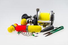Fishing tackle on white background Stock Photos