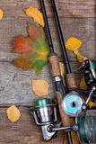 Fishing tackles on board with leafs autumn Royalty Free Stock Photos