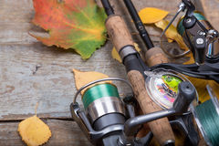 Fishing tackles on board with leafs autumn Royalty Free Stock Photography