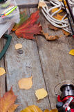 Fishing tackles on board with leafs of autumn Royalty Free Stock Photography