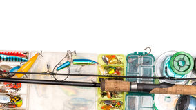 Fishing tackles composition in frame look from top Royalty Free Stock Photography