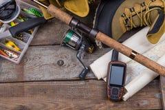 Fishing tackles and fishing gear Stock Photo