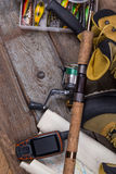 Fishing tackles and fishing gear Royalty Free Stock Images