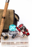 Fishing tackles and lure in box Stock Images