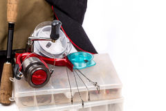 Fishing tackles and lure in box Royalty Free Stock Image