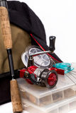 Fishing tackles and lure in box Stock Photo