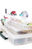 Fishing tackles and lure in storage boxes Royalty Free Stock Photo