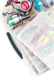 Fishing tackles and lure in storage boxes Royalty Free Stock Images
