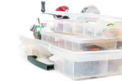 Fishing tackles and lure in storage boxes Stock Images