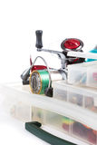 Fishing tackles and lure in storage boxes Stock Photography