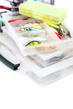 Fishing tackles and lure in storage boxes Royalty Free Stock Photography