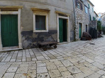 Fishing Tackles on Old Street. Old Historical Street with Fishing Tackles Stock Image