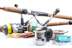Fishing tackles - rod, reel, line and lures Stock Images