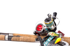 Fishing tackles rods, reels, line, lures Royalty Free Stock Photo