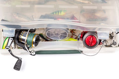 Fishing tackles in storage box Stock Photography