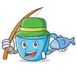 Fishing tea cup mascot cartoon. Vector illustration Stock Image