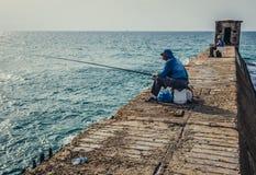 Fishing in Tel Aviv Stock Photography