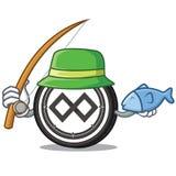 Fishing Tenx coin mascot cartoon. Vector illustration Royalty Free Stock Images