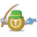 Fishing Tether coin mascot cartoon. Vector illustration Stock Image