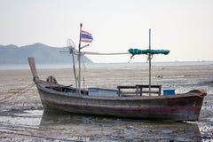 Fishing Thai boat set background Stock Photo