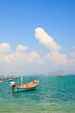 Fishing thai boats and the blue sky Royalty Free Stock Image