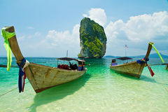 Fishing thai boats and landmark at Poda island Royalty Free Stock Photos